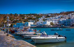 Greek island with colorful houses Royalty Free Stock Photos