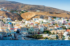 Greek island with colorful houses stock photography