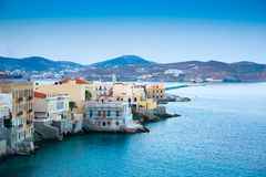 Greek island with colorful houses. And yachts Royalty Free Stock Image