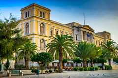 Greek island with colorful houses Royalty Free Stock Photo