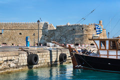 Greek island crete in the cyclades: sightseeing on the old port Royalty Free Stock Photography