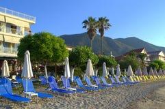 Greek island empty morning beach Royalty Free Stock Image