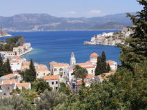 Greek Island Harbour. View of Kastellorizo harbour overlooking Kas in Turkey royalty free stock photography