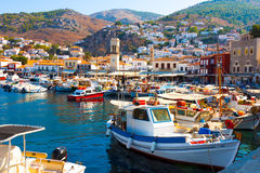 Fishing boats in Greek harbor royalty free stock images