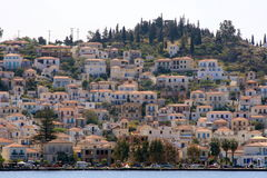 Greek island Hydra. Hydra island, Greece - view from the sea of the town built on the hillside Royalty Free Stock Photography