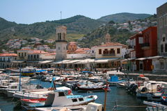 Greek island Hydra. Hydra island, Greece. View of town and port Stock Photos