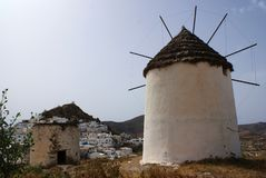 Greece, the Island of Ios, a solitary Windmill. stock photo