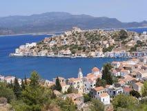 The Greek Island of Kastellorizo/Meyisti. View of Kastellorizo harbour overlooking Kas in Turkey stock photography