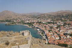 Lemnos/Limnos island city beach view from medieval fortress. Myrina Greek town landscape. Greek island Lemnos, view on city beach from medieval fortress royalty free stock photography