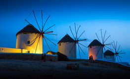 Greek island. Mills on the Greek island in the sunset Royalty Free Stock Image
