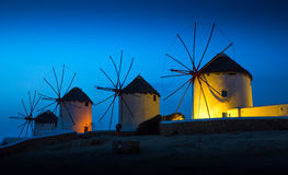 Greek island. Mills on the Greek island in the sunset Royalty Free Stock Photos