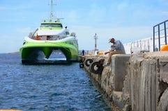 The Greek island of Mykonos wharf Royalty Free Stock Photo