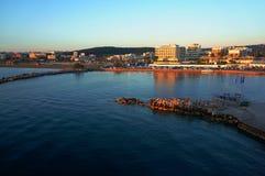 The Greek island of Mykonos Wharf Stock Photo
