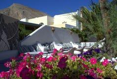 Greek island nice outdoor restaurant Royalty Free Stock Photos