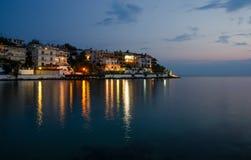 Greek island at night with a beautiful water Stock Photo