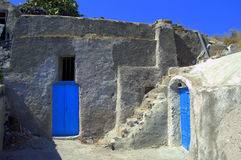 Greek island old cave houses Stock Photos
