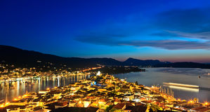 Greek island Poros at night Stock Image