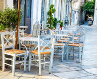 Greek island restaurants Royalty Free Stock Images