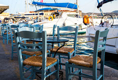 Greek island restaurants Stock Photos