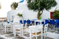 Greek island restaurants Royalty Free Stock Photography