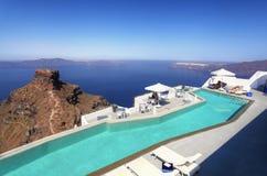 The Greek Island of Santorini. A luxury hotel on the Greek island of Santorini Stock Photo