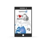 Greek island santorini on mobile phone illustration in colorful Stock Image