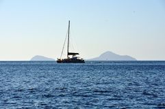 Panorama on the south side of the island of Santorini in Greece Royalty Free Stock Photography