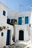 Greek island scene. Houses and street on a greek island Stock Image