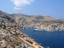 The Greek island of Simy. The port of the Greek island of Simy royalty free stock images