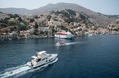 Greek island of Symi at the Aegean sea Royalty Free Stock Photography