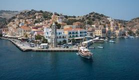 Greek island of Symi at the Aegean sea Stock Photography