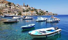 Greek Island Symi. With boats royalty free stock photos