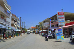 Greek island town main street. Main commercial street in Nydri,Lefkada island,Greece Stock Photography