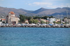 GREEK ISLAND. View of Aigina in Greece from the sea Royalty Free Stock Image