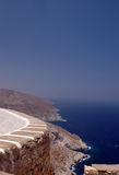 Greek island view rocky coast line Cyclades Stock Photo