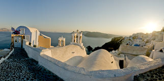 Greek island view at sunset Royalty Free Stock Image
