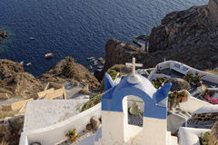 Greek Island. View from Greek Island to the sea over a church with traditional blue color stock image
