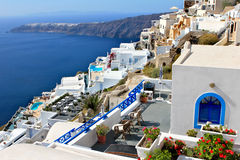Greek Island Village - Santorini. Greek Island Santorini - village on the sdie of the crater rim Stock Photos