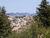 The Greek Island Vista. View of Kastellorizo harbour overlooking Kas in Turkey stock photo