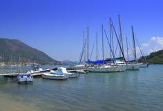 Greek island yacht harbor view Stock Photography