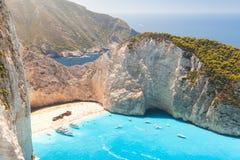 Greek island Zakynthos, Navagio beach Stock Images