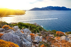 Greek islands. At sunset, Poros, Greece Royalty Free Stock Photography