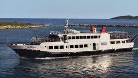 Greek Islands Coast, Cruise Ship Royalty Free Stock Photos