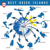 Greek islands map art illustration Royalty Free Stock Photography