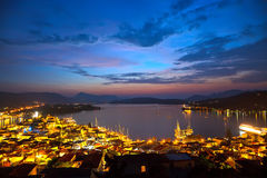 Greek islands at night. Poros, Greece, 2009 Royalty Free Stock Images