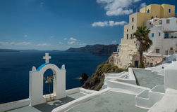 Greek Islands. Orthodox Church with a fantastic view over the Aegean Sea.  Santorini, Greek Islands Stock Photos