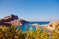 Greek islands - Rhodes, Lindos bay Royalty Free Stock Images