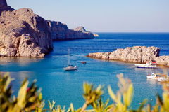 Greek islands - Rhodes, Lindos bay Stock Photography