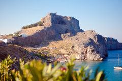 Greek islands - Rhodes, Lindos bay Royalty Free Stock Photography