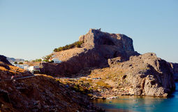 Greek islands - Rhodes, Lindos bay Royalty Free Stock Image